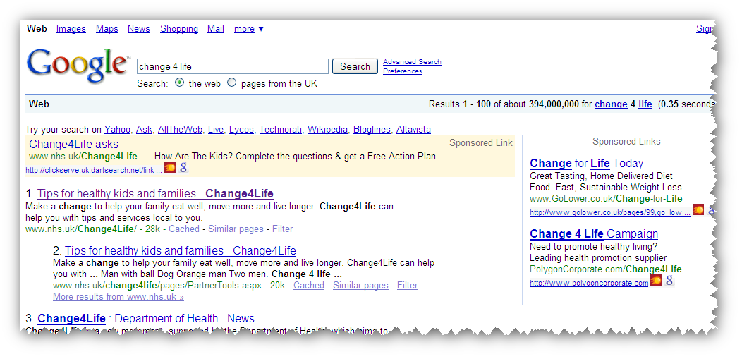 Change 4 Life search results