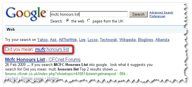 MCFC Honours List Google Results