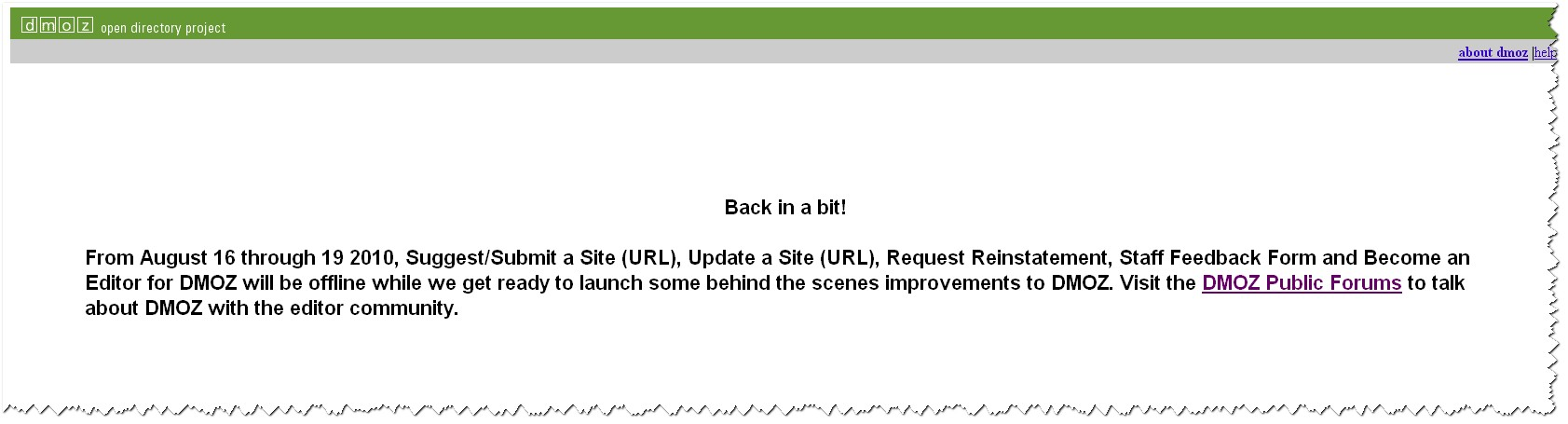 DMoz error message