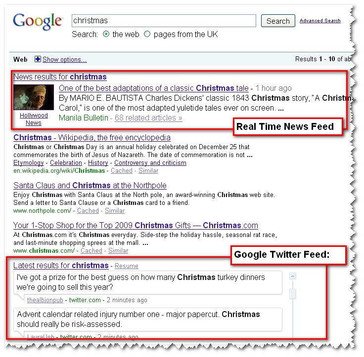 Google SERP for Christmas