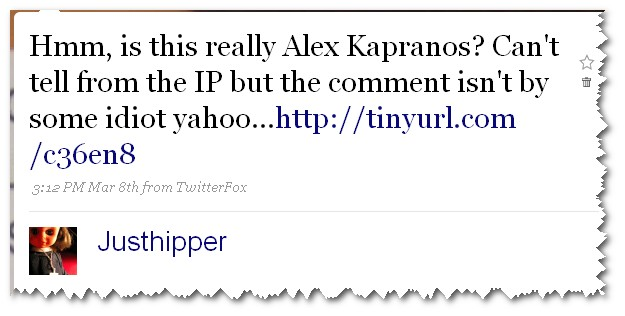 Justhipper Tweet about Alex Kapranos