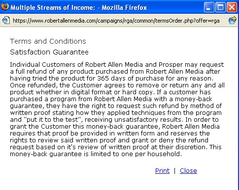 Robert Allen terms and conditions