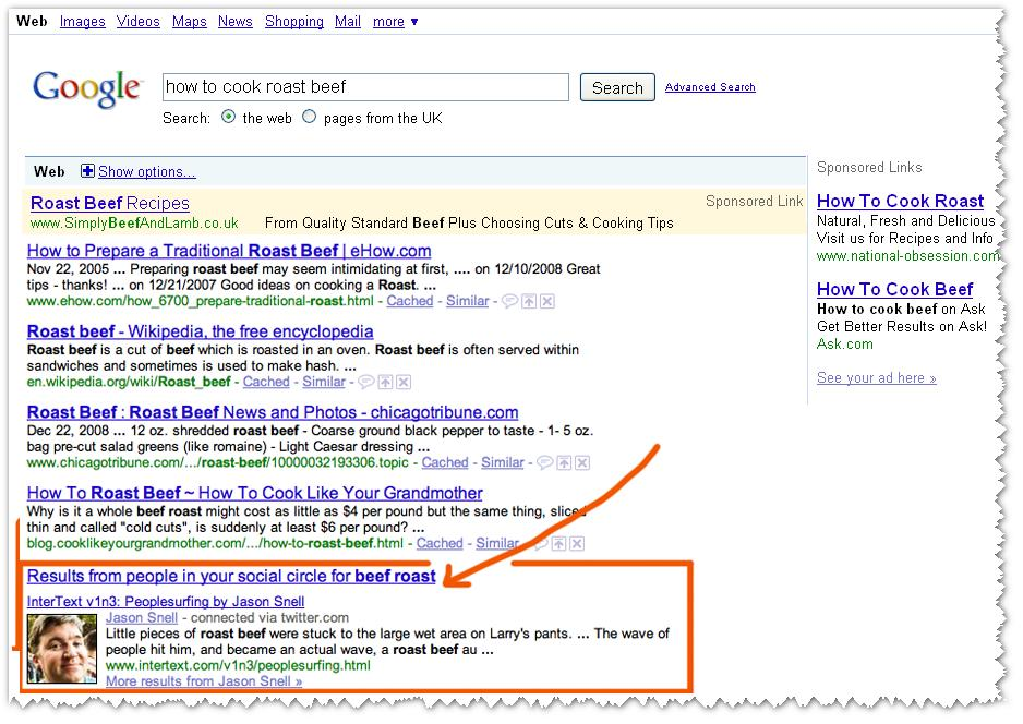 Google SERP for How to Cook Roast Beef